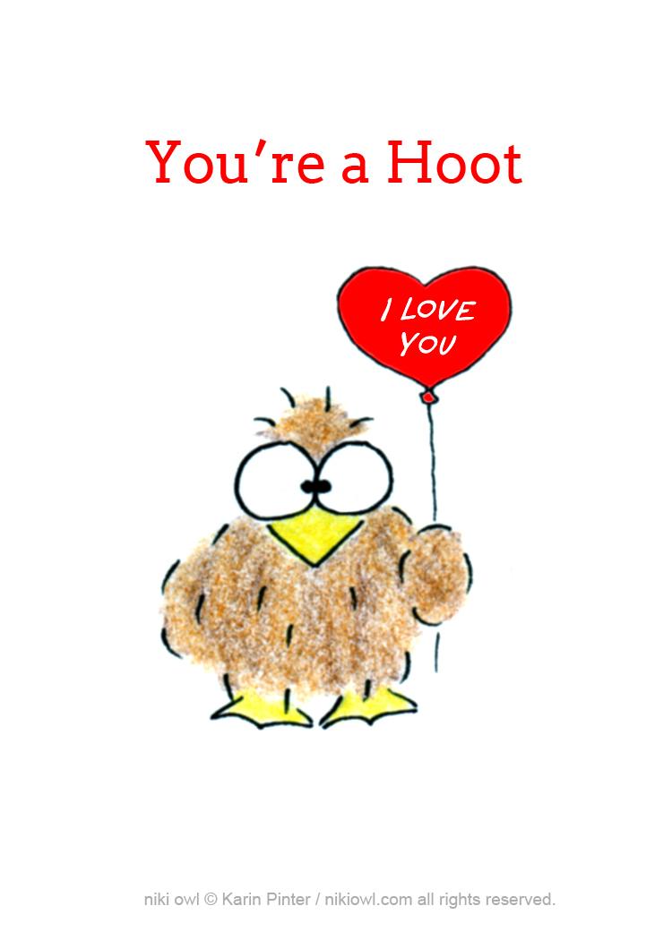 @nikiowl you're a hoot love balloon card