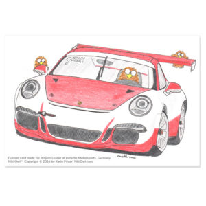Niki Owl tribute card for Porsche Motorsports
