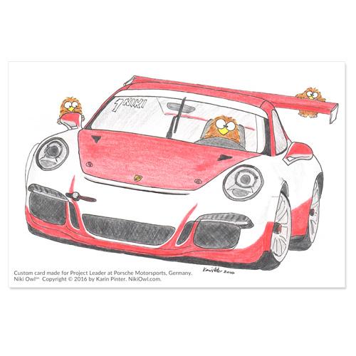 Niki Owl tribute card for Porsche Motorsports