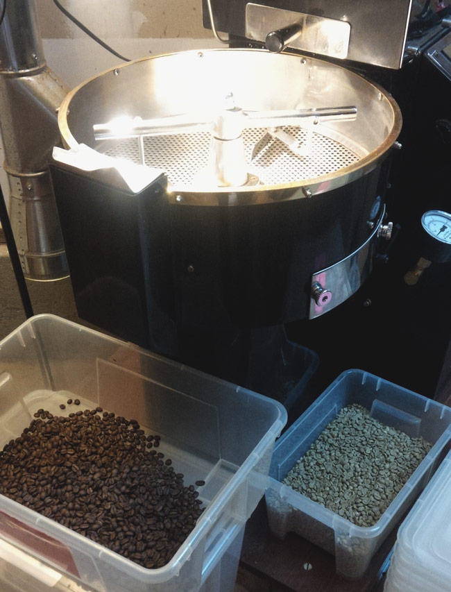 Before and after coffee roasting process