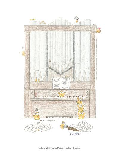Niki Owl print playing the organ