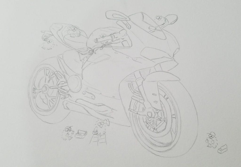 ducati panigale drawing pencil illustration