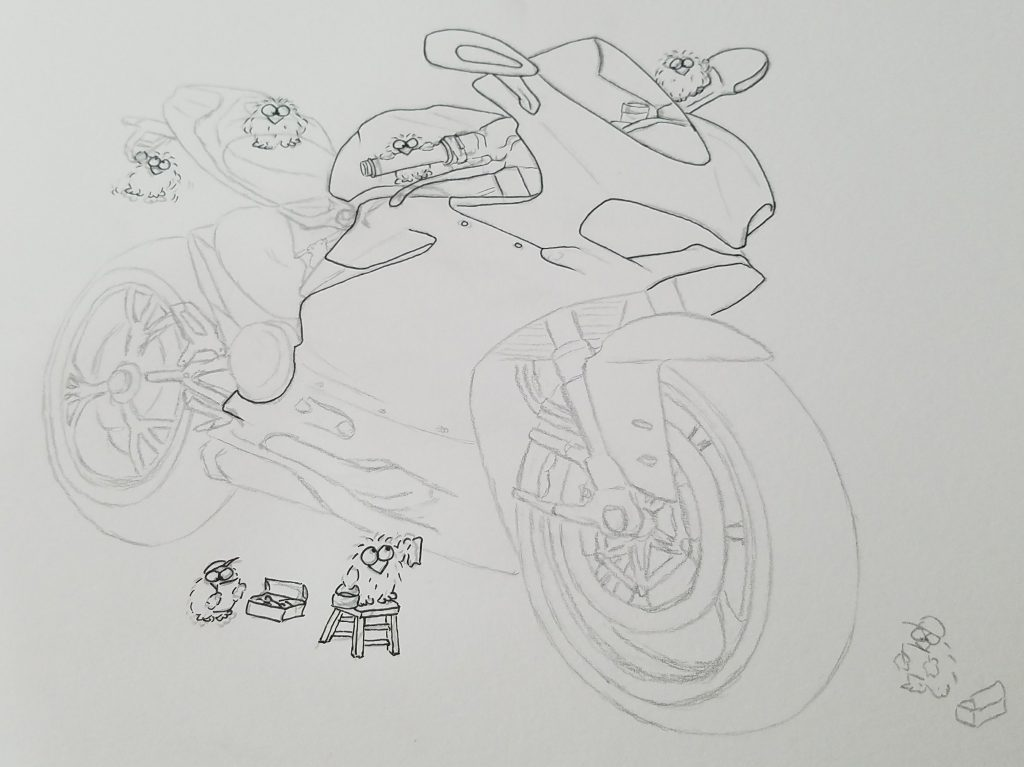 ducati panigale drawing initial pen outlines