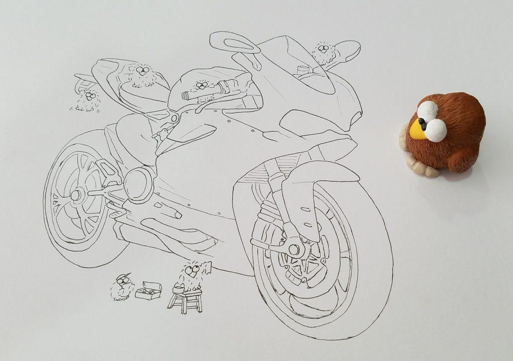 ducati panigale drawing pen illustration