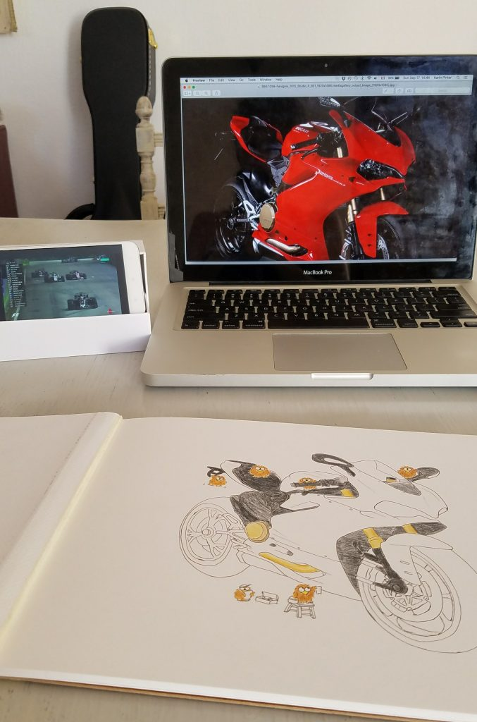colouring in the niki owl ducati panigale drawing