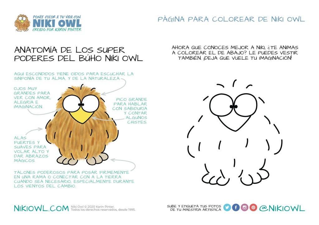 Dibujos de búhos para colorear - Anatomía de Niki Owl