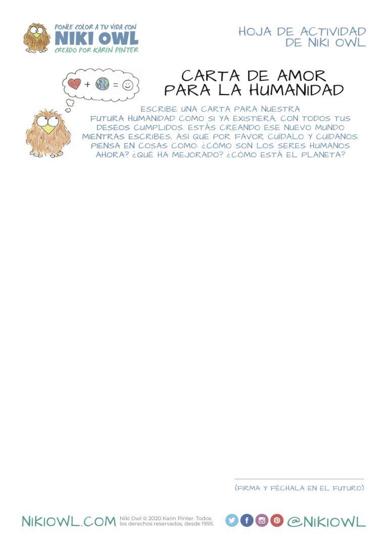 Dibujo de búho para colorear - Carta de Amor para la Humanidad