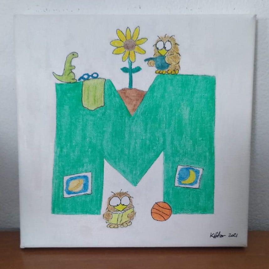 "Niki Owl painting ""M"" 2021"