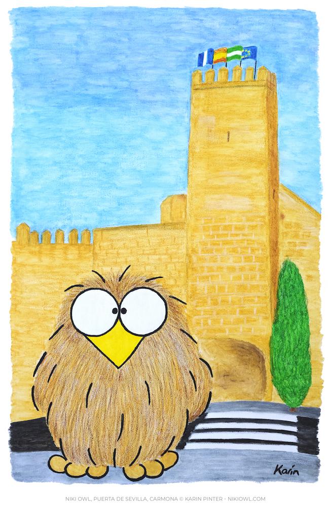 Niki Owl painting Puerta de Sevilla Carmona 2019