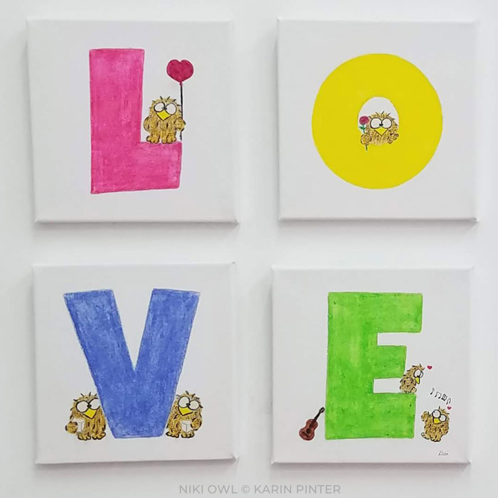 Niki Owl painting LOVE 2020